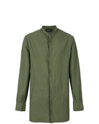 Camicia a maniche lunghe di lino verde oliva