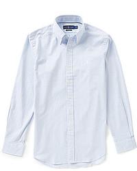 Camicia a maniche lunghe di seersucker azzurra