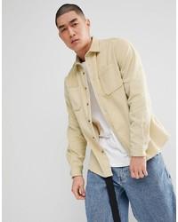 Camicia a maniche lunghe di velluto a coste beige
