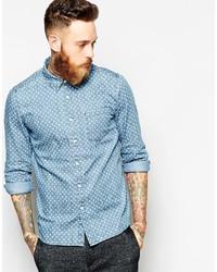 Camicia a maniche lunghe in chambray a pois azzurra di Asos