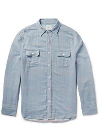 Camicia a maniche lunghe in chambray a righe verticali azzurra