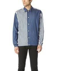 Camicia a maniche lunghe in chambray a righe verticali blu