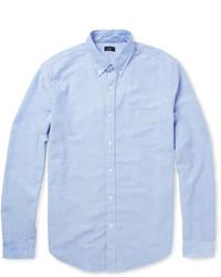 Camicia a maniche lunghe in chambray azzurra