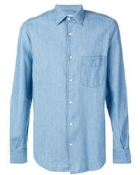 Camicia a maniche lunghe in chambray azzurra di Aspesi