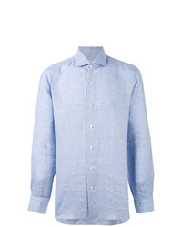 Camicia a maniche lunghe in chambray azzurra di Barba