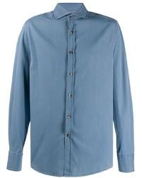 Camicia a maniche lunghe in chambray azzurra di Brunello Cucinelli