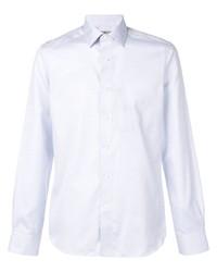Camicia a maniche lunghe in chambray azzurra di Canali