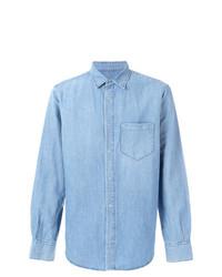 Camicia a maniche lunghe in chambray azzurra di Ermanno Scervino