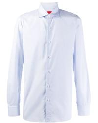 Camicia a maniche lunghe in chambray azzurra di Isaia