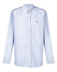 Camicia a maniche lunghe in chambray azzurra di MAISON KITSUNÉ