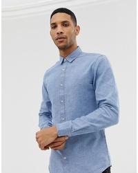 Camicia a maniche lunghe in chambray azzurra di ONLY & SONS
