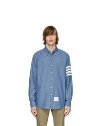 Camicia a maniche lunghe in chambray azzurra di Thom Browne