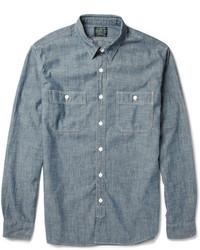 Camicia a maniche lunghe in chambray blu
