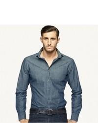 Camicia a maniche lunghe in chambray blu scuro