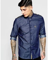 Camicia a maniche lunghe in chambray blu scuro di Fred Perry