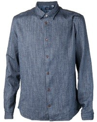 Camicia a maniche lunghe in chambray blu scuro di Paul Smith