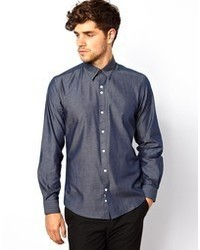 Camicia a maniche lunghe in chambray blu scuro di Red Eleven