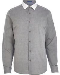 Camicia a maniche lunghe in chambray grigia