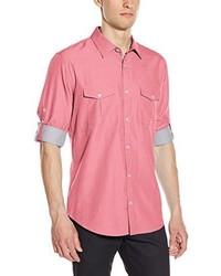 Camicia a maniche lunghe in chambray rosa