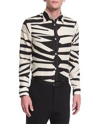 Camicia a maniche lunghe leopardata beige