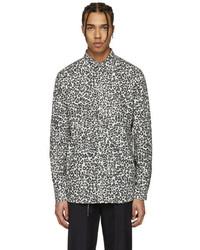 Camicia a maniche lunghe leopardata bianca e nera