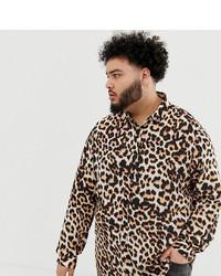 Camicia a maniche lunghe leopardata marrone scuro di ASOS DESIGN