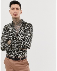 Camicia a maniche lunghe leopardata marrone scuro di Devils Advocate