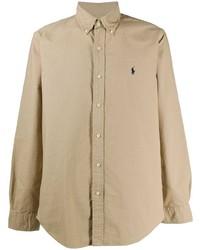 Camicia a maniche lunghe marrone chiaro di Polo Ralph Lauren