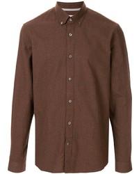 Camicia a maniche lunghe marrone di Gieves & Hawkes