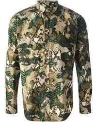 Camicia a maniche lunghe mimetica verde