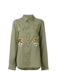Camicia a maniche lunghe ricamata verde oliva