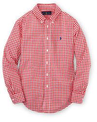 Camicia a maniche lunghe rossa