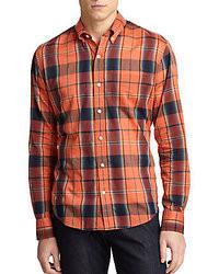 Camicia a maniche lunghe scozzese arancione
