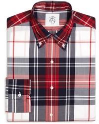 Camicia a maniche lunghe scozzese bianca e rossa e blu scuro