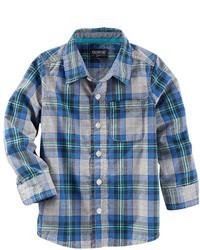 Camicia a maniche lunghe scozzese blu