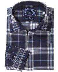 Camicia a maniche lunghe scozzese blu scuro e bianca