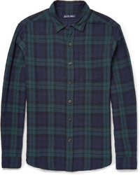 Camicia a maniche lunghe scozzese blu scuro e verde