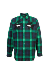 Camicia a maniche lunghe scozzese blu scuro e verde di Haculla