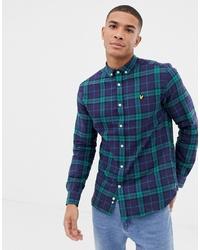 Camicia a maniche lunghe scozzese blu scuro e verde di Lyle & Scott