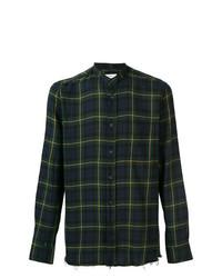 Camicia a maniche lunghe scozzese blu scuro e verde di Mauro Grifoni