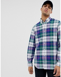 Camicia a maniche lunghe scozzese blu scuro e verde di Polo Ralph Lauren