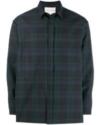 Camicia a maniche lunghe scozzese blu scuro e verde di Stephan Schneider