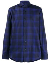 Camicia a maniche lunghe scozzese blu scuro di BOSS HUGO BOSS