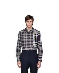 Camicia a maniche lunghe scozzese blu scuro di Burberry