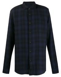 Camicia a maniche lunghe scozzese blu scuro di Deperlu