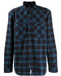 Camicia a maniche lunghe scozzese blu scuro di Diesel