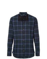 Camicia a maniche lunghe scozzese blu scuro di Kolor