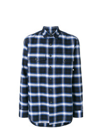 Camicia a maniche lunghe scozzese blu scuro di Marcelo Burlon County of Milan