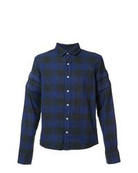 Camicia a maniche lunghe scozzese blu scuro di Mostly Heard Rarely Seen