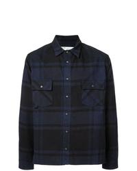 Camicia a maniche lunghe scozzese blu scuro di Off-White